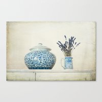 Lavender with Ginger Jar and Jug Canvas Print