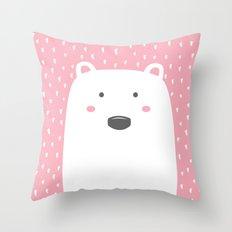 Pink Bear Throw Pillow