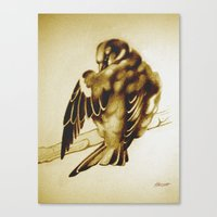 Sparrow Cleaning Canvas Print
