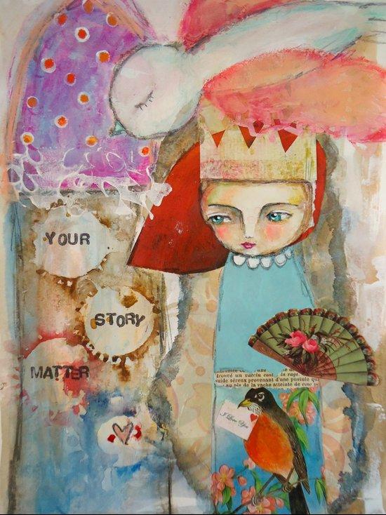 Your story matter - girl and bird inspirational art Art Print