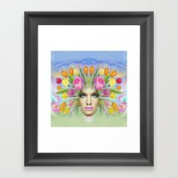 Woman Flowers Colors Framed Art Print