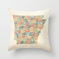 Arkansas By County Throw Pillow