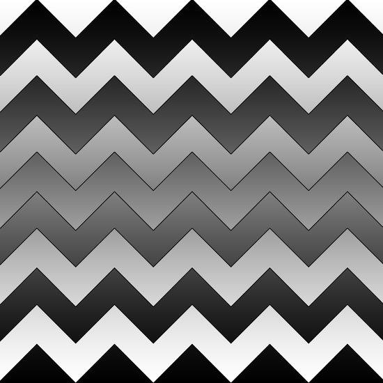 Chevron Black to White Art Print