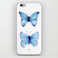 Two Blue Butterflies Watercolor iPhone & iPod Skin