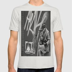 Busking in Belfast 2 Mens Fitted Tee Silver SMALL