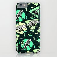 iPhone & iPod Case featuring 90's Dinosaur Skeleton Neon Pattern by chobopop