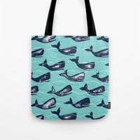 Whales In Waves - Blue Tote Bag