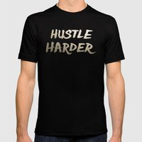 Hustle Harder Mens Fitted Tee Black SMALL
