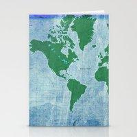 Mercator World Map Stationery Cards