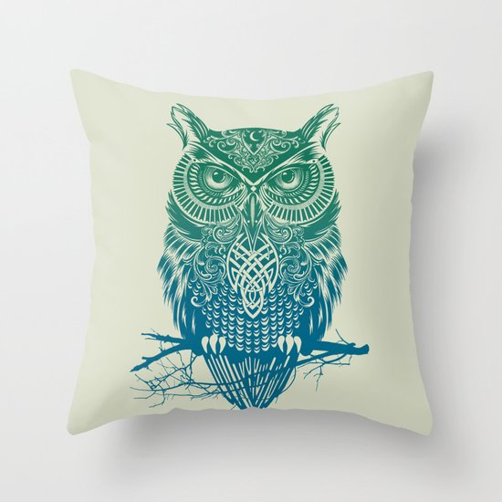 Warrior Owl Throw Pillow