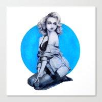 Blue Dot Girl Canvas Print