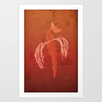 Dragon in red Art Print