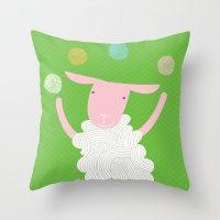 sheep playing Throw Pillow