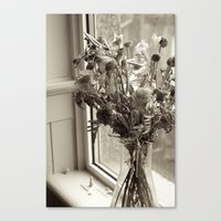 Canvas Print featuring A lone vase full of withered flowers by Elise Tyv