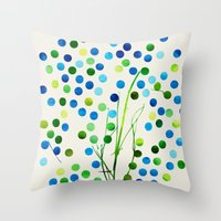Tree of Life_Aqua by Jacqueline and Garima Throw Pillow