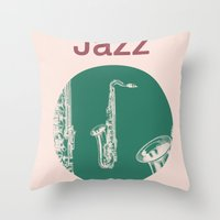 Jazz Relax And Play Sax Throw Pillow
