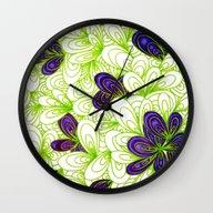 Wall Clock featuring Tropic I by Datavis/pwowk