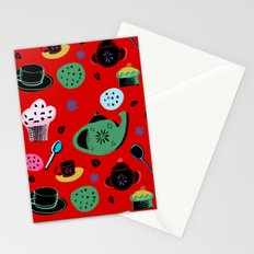 tea party on red Stationery Cards