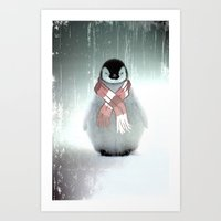 PENGUIN WITH SCARF Art Print