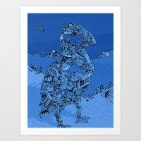 Blue Bird Machine City Art Print