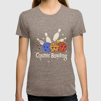 Cosmic Bowling Womens Fitted Tee Tri-Coffee SMALL