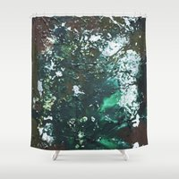 Green abstract liquidity. Shower Curtain