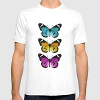 3 colorful butterflies Mens Fitted Tee White SMALL