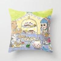 high tea party Throw Pillow