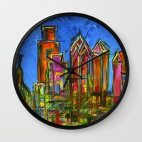 Philly Neon Skyline Wall Clock