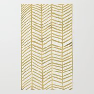 Rug featuring Gold Herringbone by Cat Coquillette