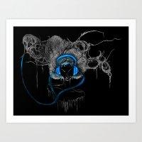 Blue Headphones Art Print