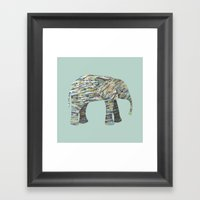 Elephant Paper Collage in Gray, Aqua and Seafoam Framed Art Print