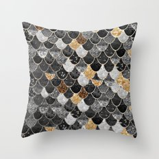 REALLY MERMAID BLACK GOLD Throw Pillow