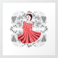 Red Dress Art Print
