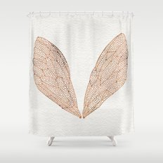 Cicada Wings in Rose Gold Shower Curtain