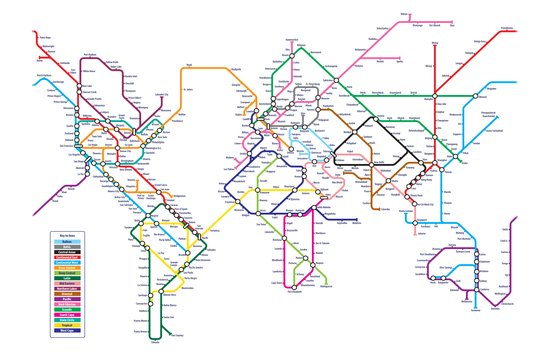 World Metro Subway Map Canvas Print