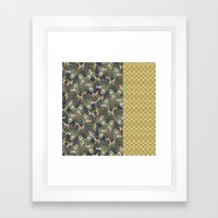 Peacock Feathers and Art Deco Print Framed Art Print