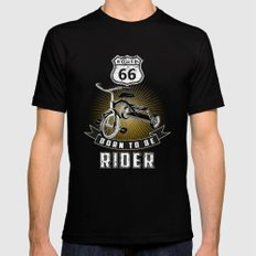 born to be rider SMALL Black Mens Fitted Tee