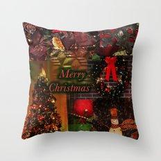 The Christmas collage merry christmas Throw Pillow