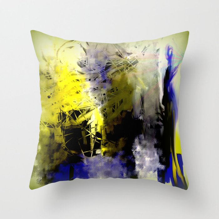 Throw Pillows Yellow And Blue : Blue and Yellow Abstract with Black Throw Pillow by Jessielee Society6