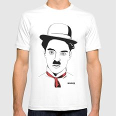 Charlie Chaplin White Mens Fitted Tee SMALL