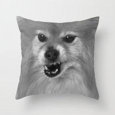 Angry Pomeranian dog Throw Pillow