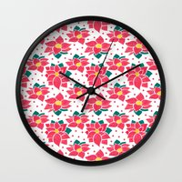 The Poinsettia Pattern Wall Clock