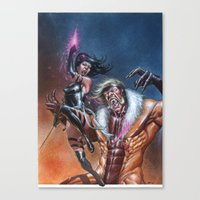 Psylocke vs Sabretooth Canvas Print
