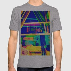 Industrial Abstract Blue Mens Fitted Tee Athletic Grey SMALL