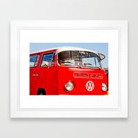 Red VW Bus Bold Print Framed Art Print