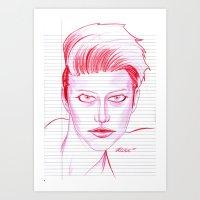 Fashion Hair With Loose … Art Print