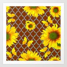 Coffee Brown Patterned Yellow Butterflies Sunflower Design Art Print