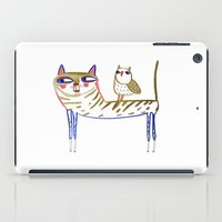 cat and owl, cat art, cat print, cat illustration, cats, cat, owl print,  iPad Case