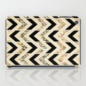 Black & Gold Glitter Herringbone Chevron on Nude Cream iPad Case